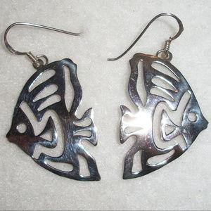 .925 Silver LARGE ANGEL FISH Earrings